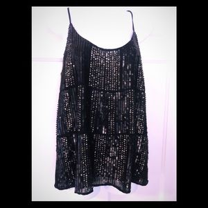 Sequined spaghetti strap top by Mango.
